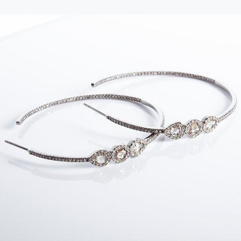 Diamond Sterling Large Hoop Earrings