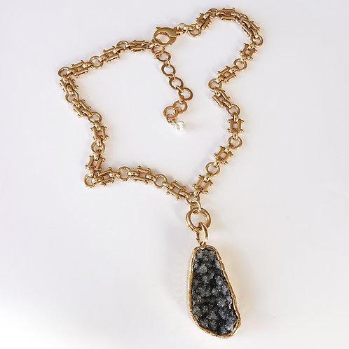Black Amethyst Necklace Gold One of Kind Gemstone
