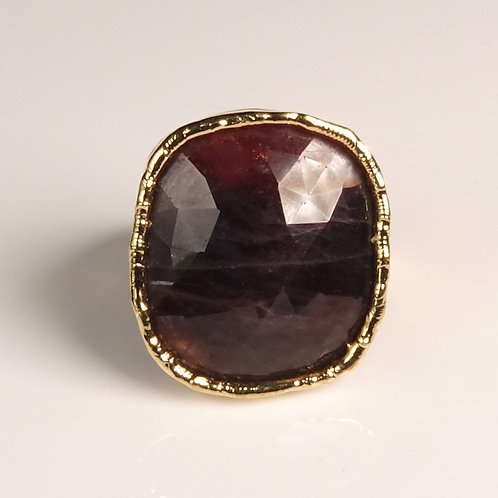 Sapphire Burgundy Gold Ring Adjustable