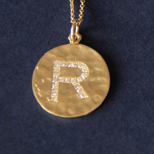 14K yellow Gold Diamond Letter Disc Pendant