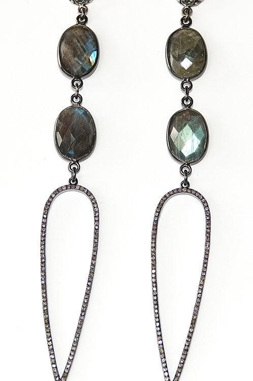 Labradorite Diamond Sterling Statment Earrings