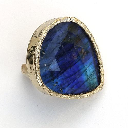 Labradorite Gold Statement Ring Blue