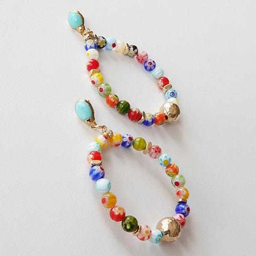 Multi Color Hoop Gold Earrings