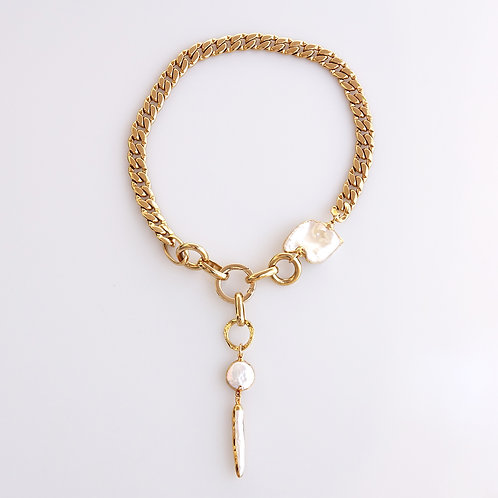 Chunky Gold Chain with Pearl Drop Necklace