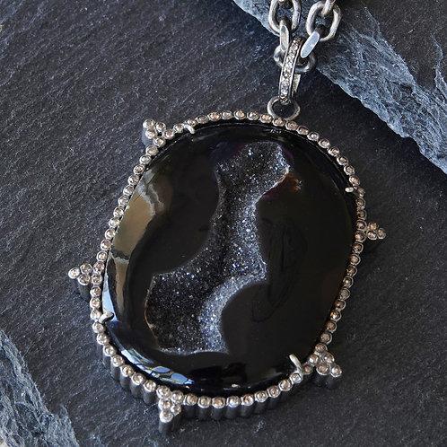 Diamond Stone Pendant Necklace Men's Silver