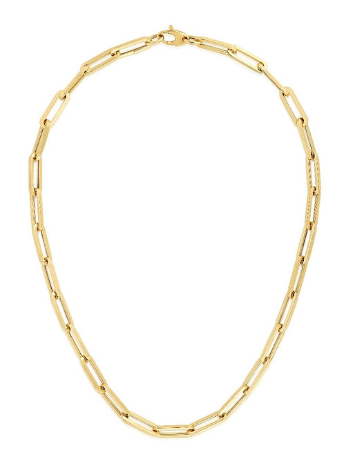 14K Gold 6.61mm Paperclip Chain 18""