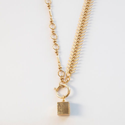 Pyrite Cube Gold Chain Necklace