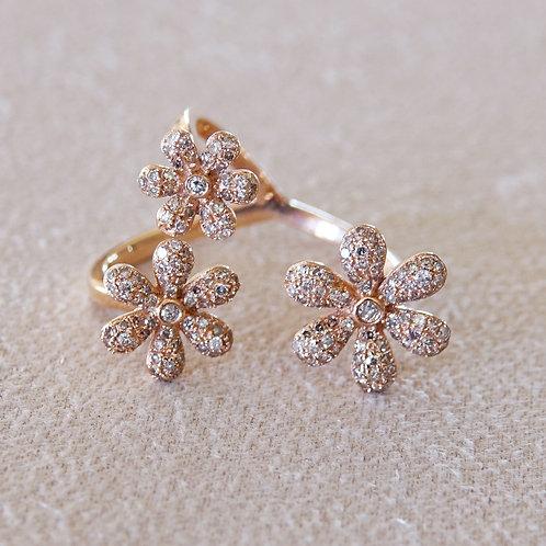14K Diamond Triple Flower Ring
