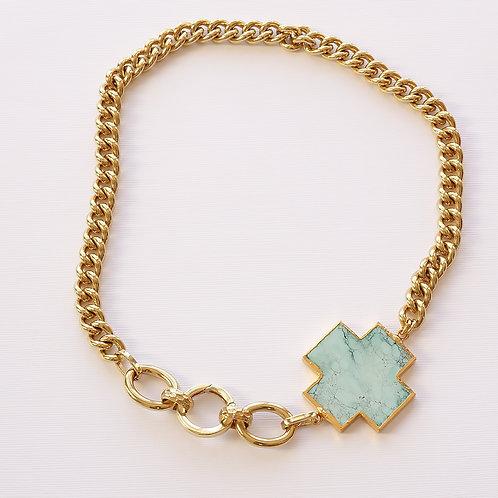 Turquoise Cross Chunky Gold Chain