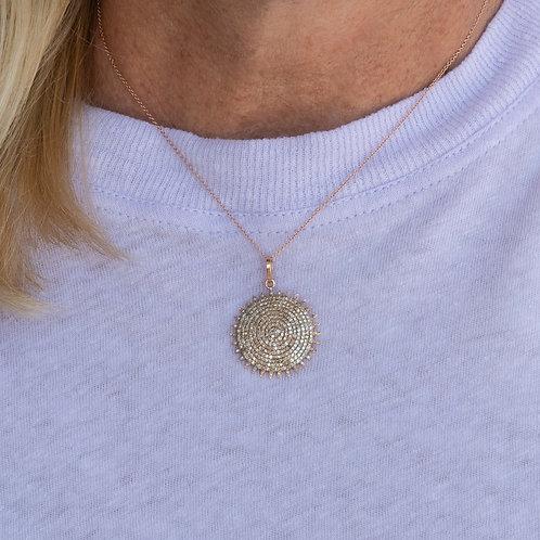 Diamond Pave Sun Disk Pendant Necklace