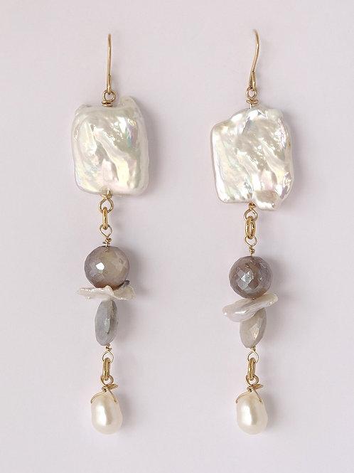 Pearl Moonstone Drop Earrings