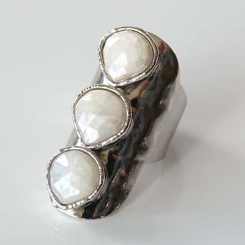 White Silverite Silver Statement Ring