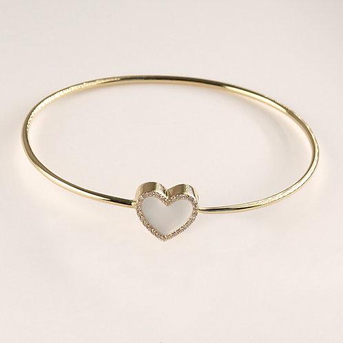 14K Gold Diamond White Enamel HeartBracelet