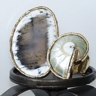 Natural White Dandrite White Opal & Nautilus Shell Ring