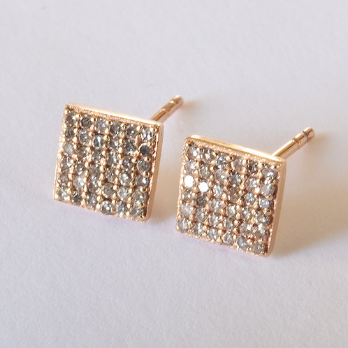 Square Diamond Stud Earrings 14K Rose Gold