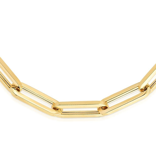 14K Gold 6.1mm Paperclip Chain 24""
