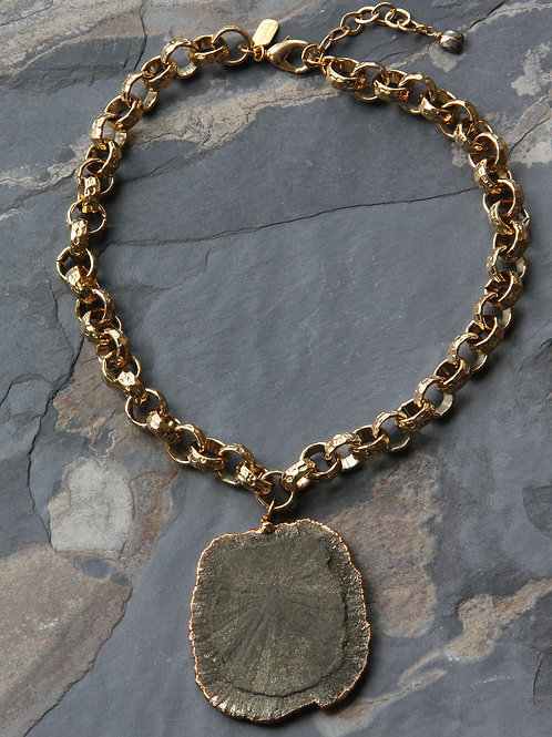 Pyrite Sun Star Gold Necklace