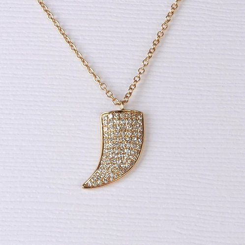 Diamond Gold Shark Tooth Necklace 18K Yellow Gold