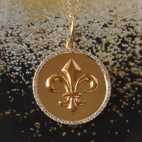 Fleur De Lis Diamond Gold Pendant Disk 14K Yellow Gold Necklace