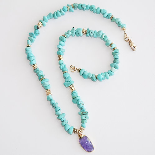 Turquoise Tanzanite Gold Necklace