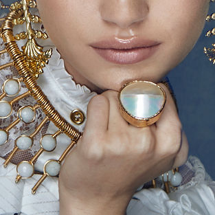 Pearl Shell Gold Ring One of Kind Rings