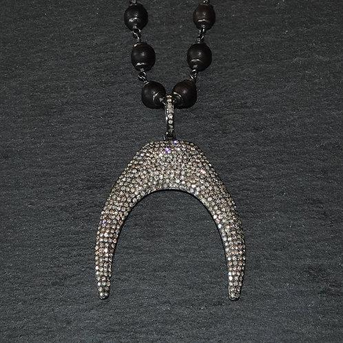Diamond Antler Sterling Necklace Men's