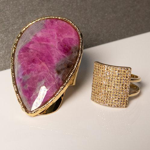 Burgundy Sapphire Gold Statement Ring