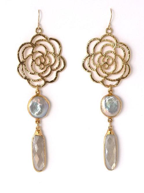 Rose Pearl Moonstone Earrings