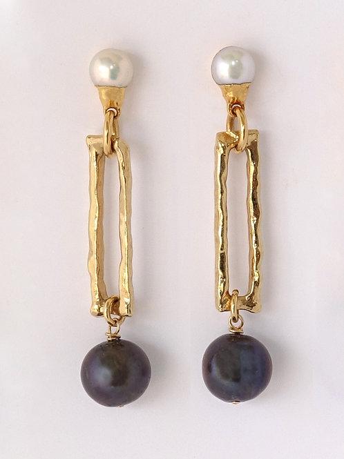 Gold Tahitian Pearl Earrings