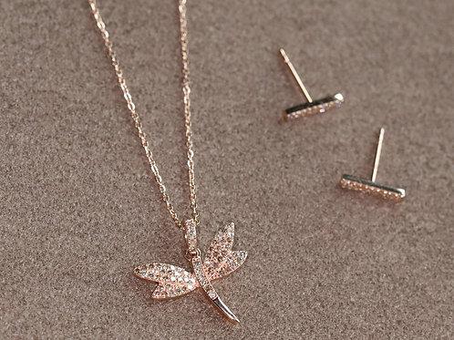 14K Rose Gold Diamond Dragonfly Necklace