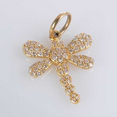14K Gold Diamond Dragonfly Charm