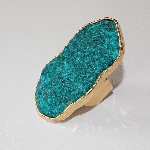 Krysia Renau Dioptase Green Natural Gemstone Gold Statement Ring
