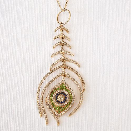 Diamond Peacock Feather Evil Eye Pendant Necklace 14K Gold