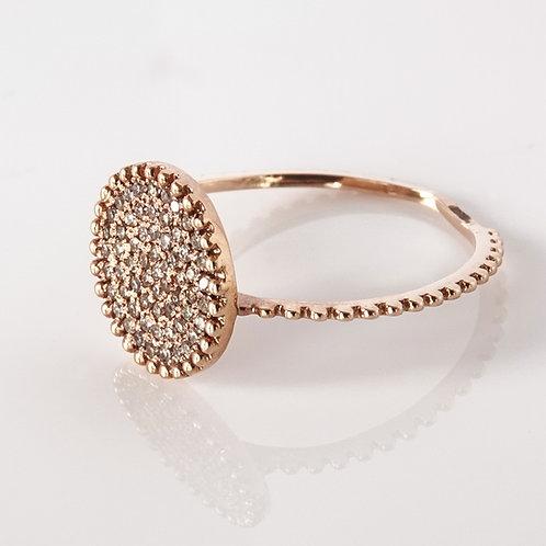 Pave Diamond Ring 14K Rose Gold