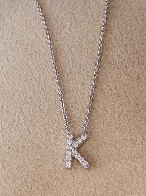 "Diamond Initial ""K"" 14k White Gold Necklace"
