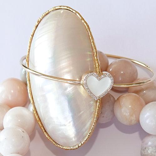 Diamond White Enamel Heart Bracelet 14K Yellow Gold