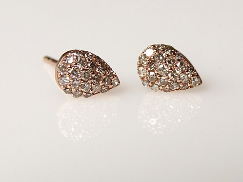 14K Diamond Pear Stud Earrings