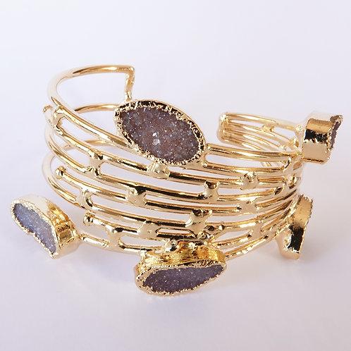 Multi Gemstone Gold Statement Cuff