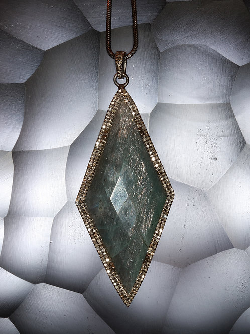 Labradorite Diamond Sterling Pendant Necklace