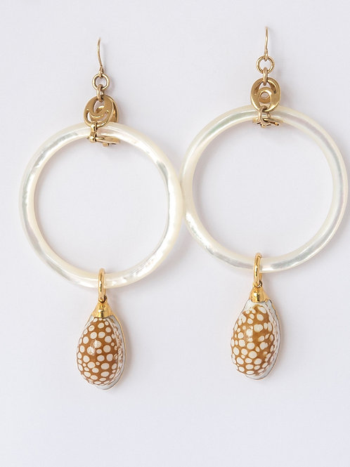 Pearl Hoops with Shell
