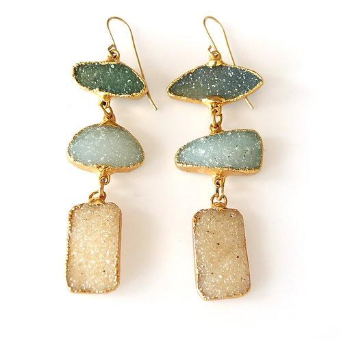Triple Drusy Colored Stone Earrings