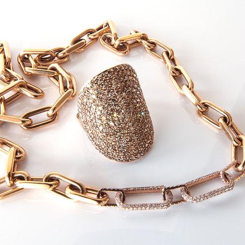 Rose Gold Diamond Cigar Band Ring