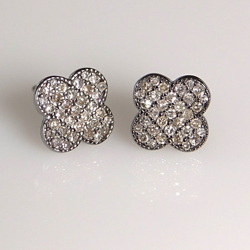 Clover Pave Diamond Silver Earrings