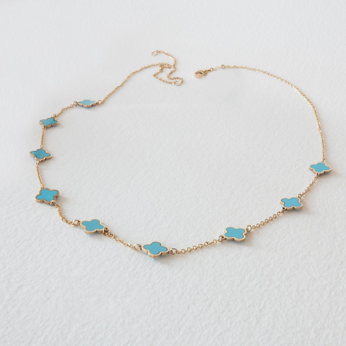 Turquoise Clover Gold Chain Necklace