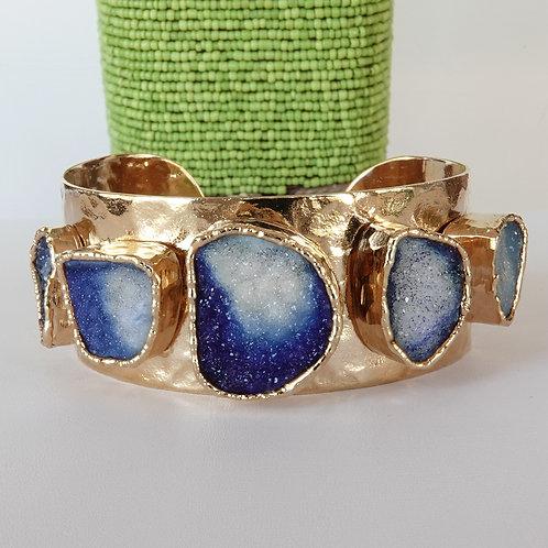 Hammered Gold Drusy Stone Cuff Bracelet