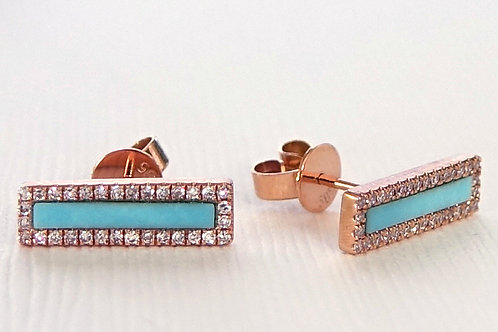 Turquoise Diamond Bar Stud Earrings 14K