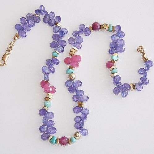 Krysia Renau Tanzanite Multi Gemstone Gold Filled Necklace