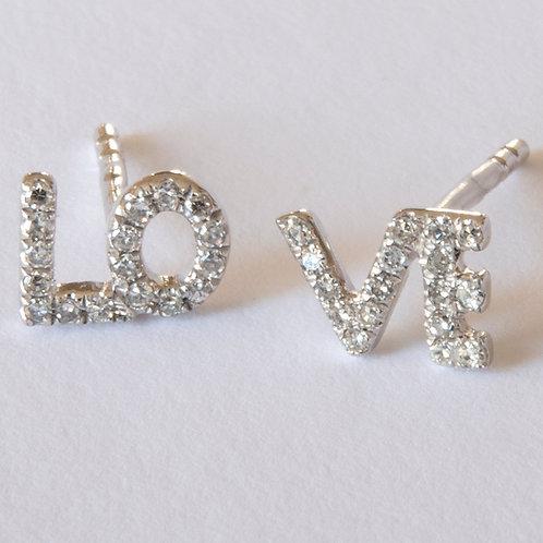 Tiny LOVE stud Earrings 14K White Gold
