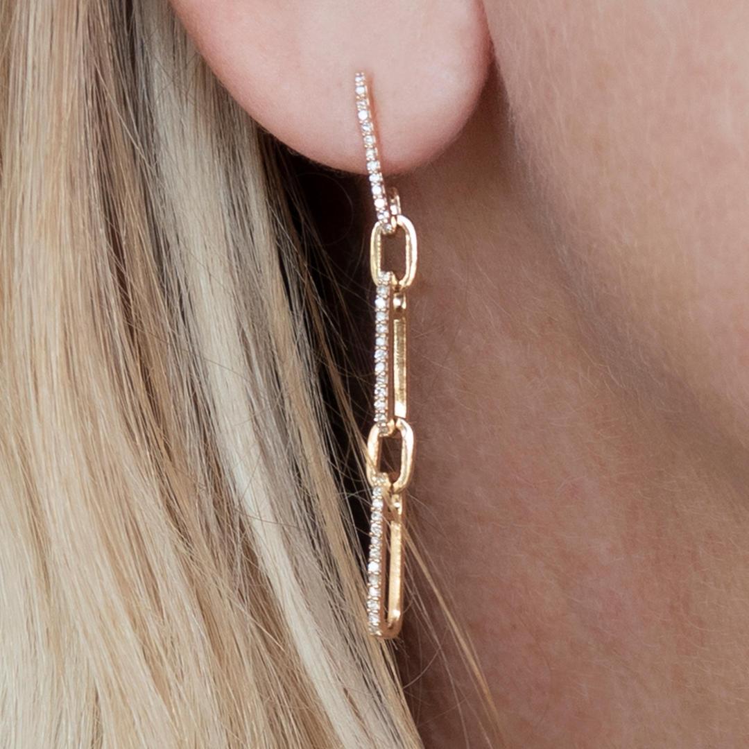 Paper Clip 14K Gold Diamond Earrings