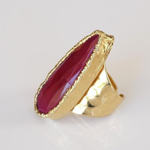 Chalcedony Magenta Gold Statement Ring
